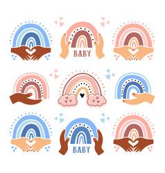 rainbow baby cute rainbows for boys and girls vector image