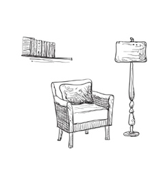 Reading place sketch Chair and lamp vector image