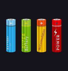 Realistic aa type battery set vector