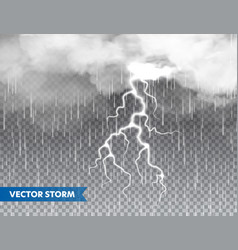 Realistic rain with clouds and lightning on vector