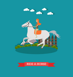 Ride a horse in flat style vector