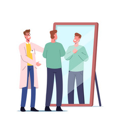 Satisfied patient look in mirror after hair vector