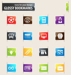 School bookmark icons vector