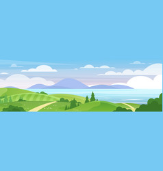 sea and mountains landscape flat vector image