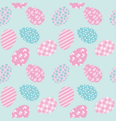 Seamless pattern with white easter eggs and polka vector