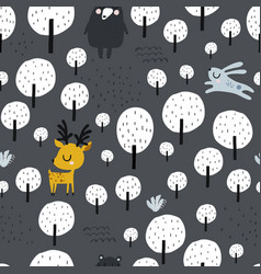 seamless worest pattern with deer bear rabbit vector image