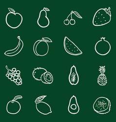 set chalk doodle fruits icons vector image