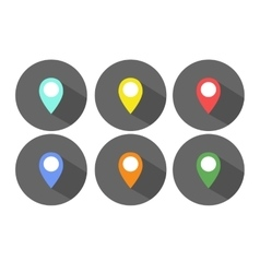 Set of flat map pointers vector image vector image