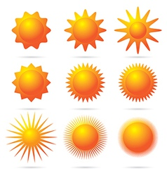 set of sun symbol vector image