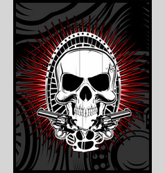 skull with gun vector image
