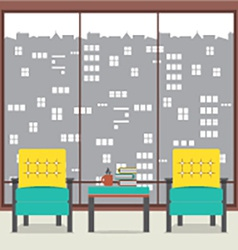 Sofas with books in front of wide glass window vector