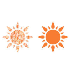 Sun collage of binary digits vector