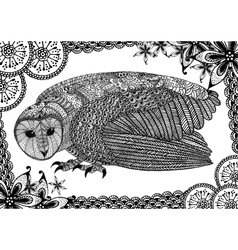 The barn owl with pattern vector image