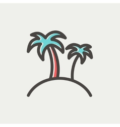 Two palm trees thin line icon vector image