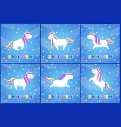 unicorn magic animal posters with text set vector image