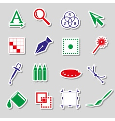Various computer graphics color stickers set eps10 vector