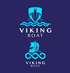 vikingboat logo set vector image