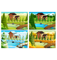 Village in four seasons vector