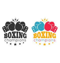 vintage logo for boxing with glove vector image