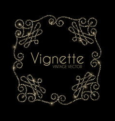 vintage swirl ornament vignette elegant gold vector image