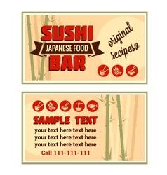 Visiting card of sushi bar vector