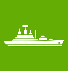 Warship icon green vector