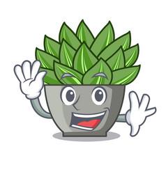 Waving view of green echeveria cactus cartoon vector