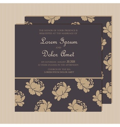 Wedding invitation with floral background vector