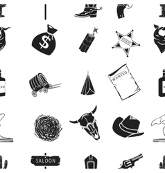 Wild west pattern icons in black style Big vector image