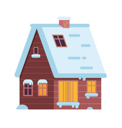 Winter rural house or alpian chalet vector