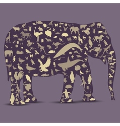 Elephant Globe outline made from animals icons vector image