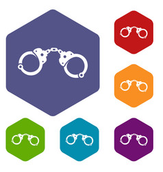 Handcuffs icons set vector