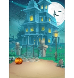 Holiday card with a mysterious Halloween haunted vector image