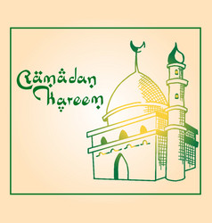 mosque hand drawn ramadan greeting vector image