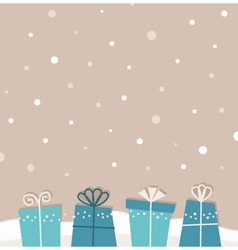 Retro christmas snowing background with gifts vector image vector image