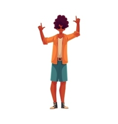 Young african american man dancing vector image
