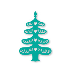 Christmas tree laser cutting template vector