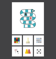 flat icon games set of ace backgammon xo and vector image vector image