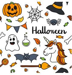 halloween seamless pattern autumn unicorn vector image vector image