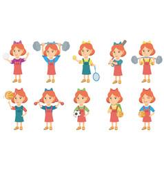 little caucasian girl set vector image vector image