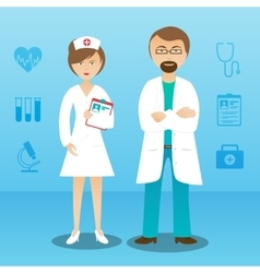 Medicine doctor man woman character banner vector image