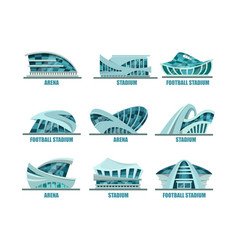 set of isolated glassware stadiums for soccer vector image