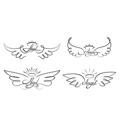 angel wings drawing winged vector image vector image