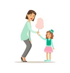 Mom Giving Cotton Candy To Daughter Loving Mother vector image vector image