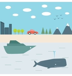 Summer journey by car and boat vector image vector image