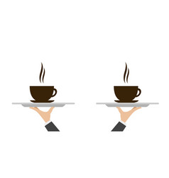 waiter tray with coffee vector image