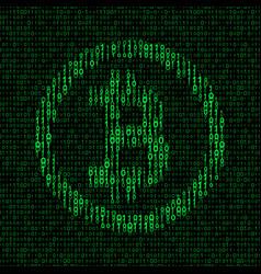 bitcoin symbol binary background vector image