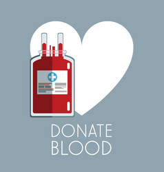 donate blood white heart bag care vector image vector image