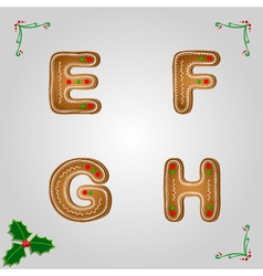 Gingerbread font e to h vector image vector image