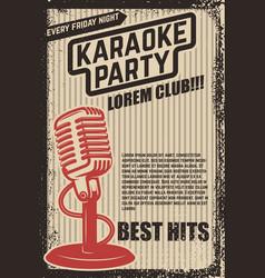 karaoke party poster vintage microphone on grunge vector image